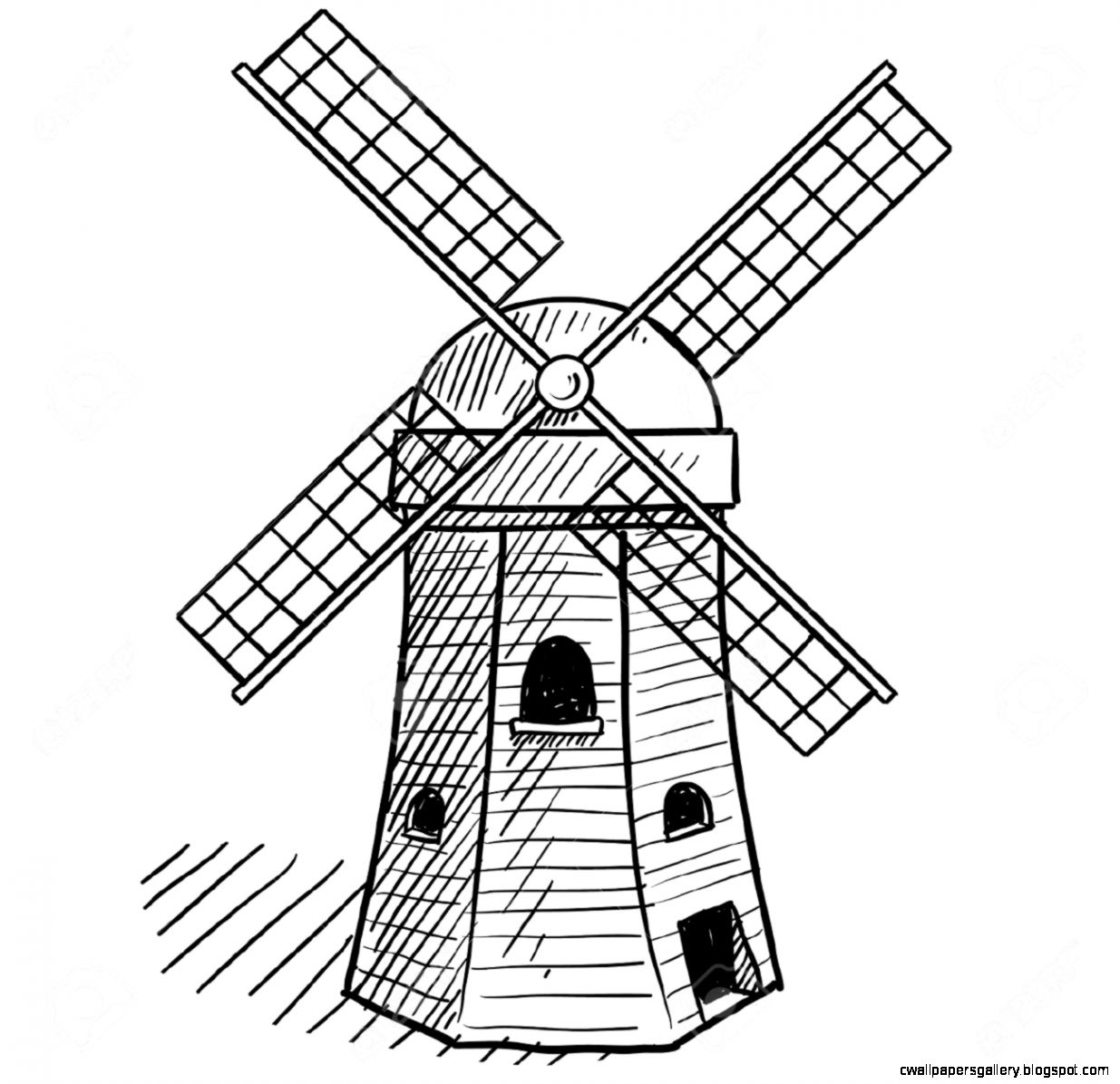 21 Dutch Windmills Clipart