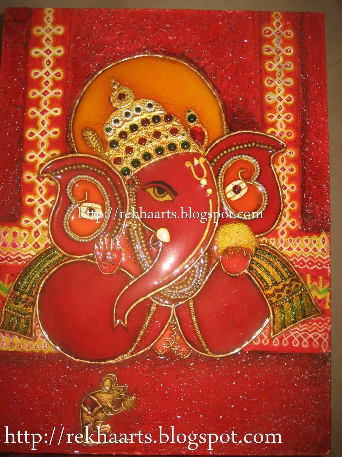 Varnaalaya m seal ganesha murals red colour for Mural ganesha