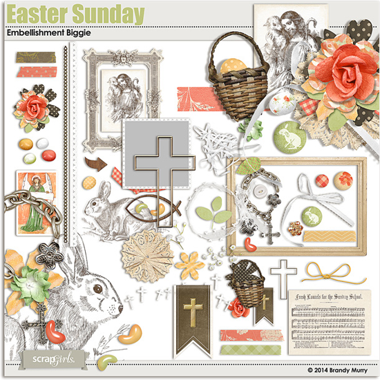 Christian Easter Digital Scrapbooking Embellishments