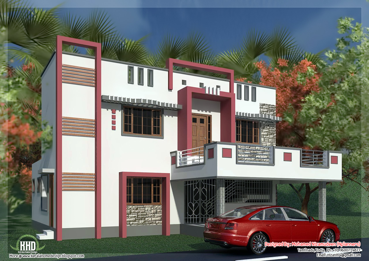 South indian model minimalist 1050 sq ft house exterior for Home exterior design india residence houses
