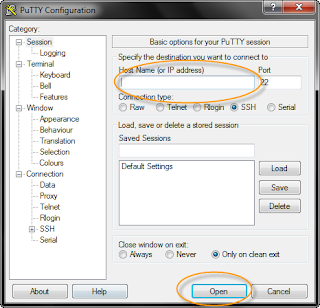 Host Name (or IP address) pada putty