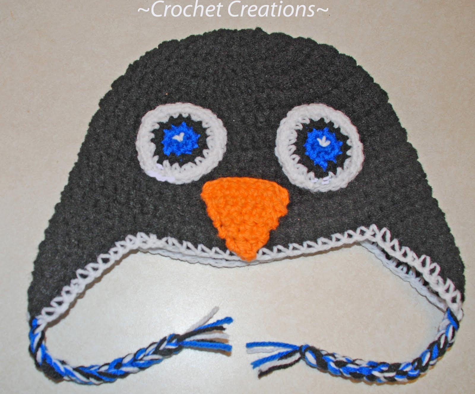 Amys Crochet Creative Creations Crochet Penguin Ear Flap Hat All