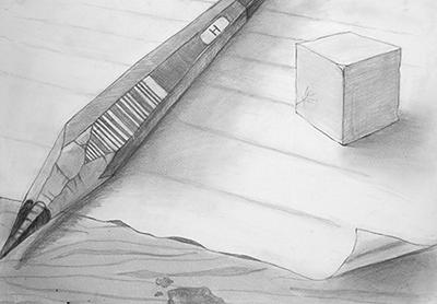 横浜美術学院の中学生教室 美術クラブ 新年度スタート課題「ある場所に置かれた立方体」過去の中学生の作品2