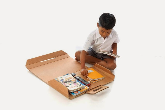 keeping books inside recycled carton school bag, folding creative carton desk into a bag