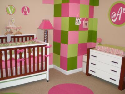 Peinture chambre b b fille rose et vert b b et - Peinture chambre fille rose ...