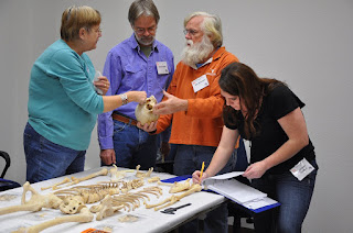 Archeological Stewards from the Texas Historical Commission received hands on instruction in identifying bones found at archeological sites.