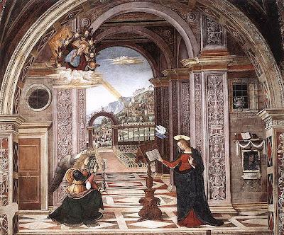 L'Annunciazione dell'Angelo a Maria sulla nascita di Gesù secondo l'opera del Pinturicchio