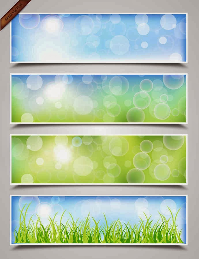 Spring Bokeh Banners Background