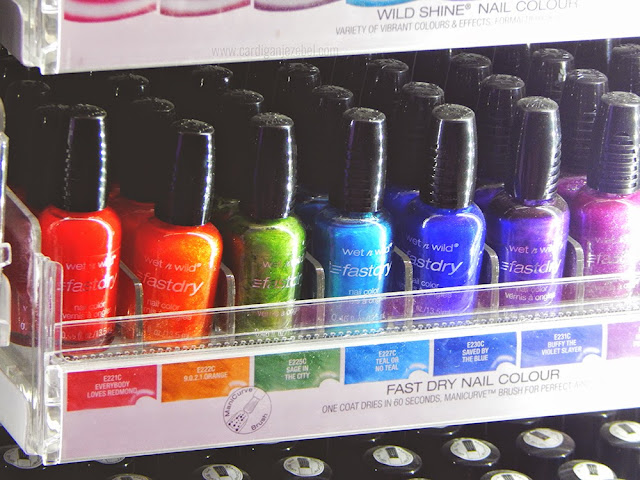 Wet n Wild Fast Dry nail color in  red, orange, green, blue, and purple