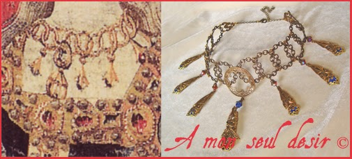 Collier de la Dame à la Licorne / Moyen Age / Bijou médiéval renaissance / Bijoux médiévaux reproduction / medieval necklace from the Lady and the Unicorn tapestry jewels jewellery renaissance