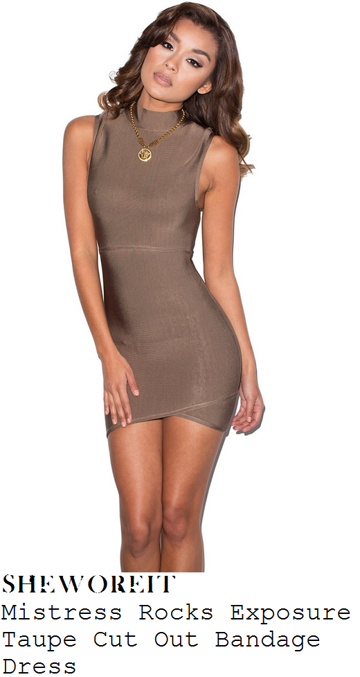 kylie-jenner-khaki-taupe-high-neck-sleeveless-bandage-mini-dress