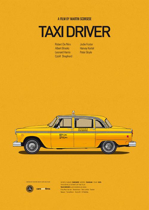 Carros famosos do cinema em posters minimalistas - Jesús Prudencio - Taxi Driver