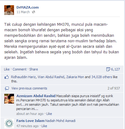 Misteri MH370, Pesawat MH370 hilang