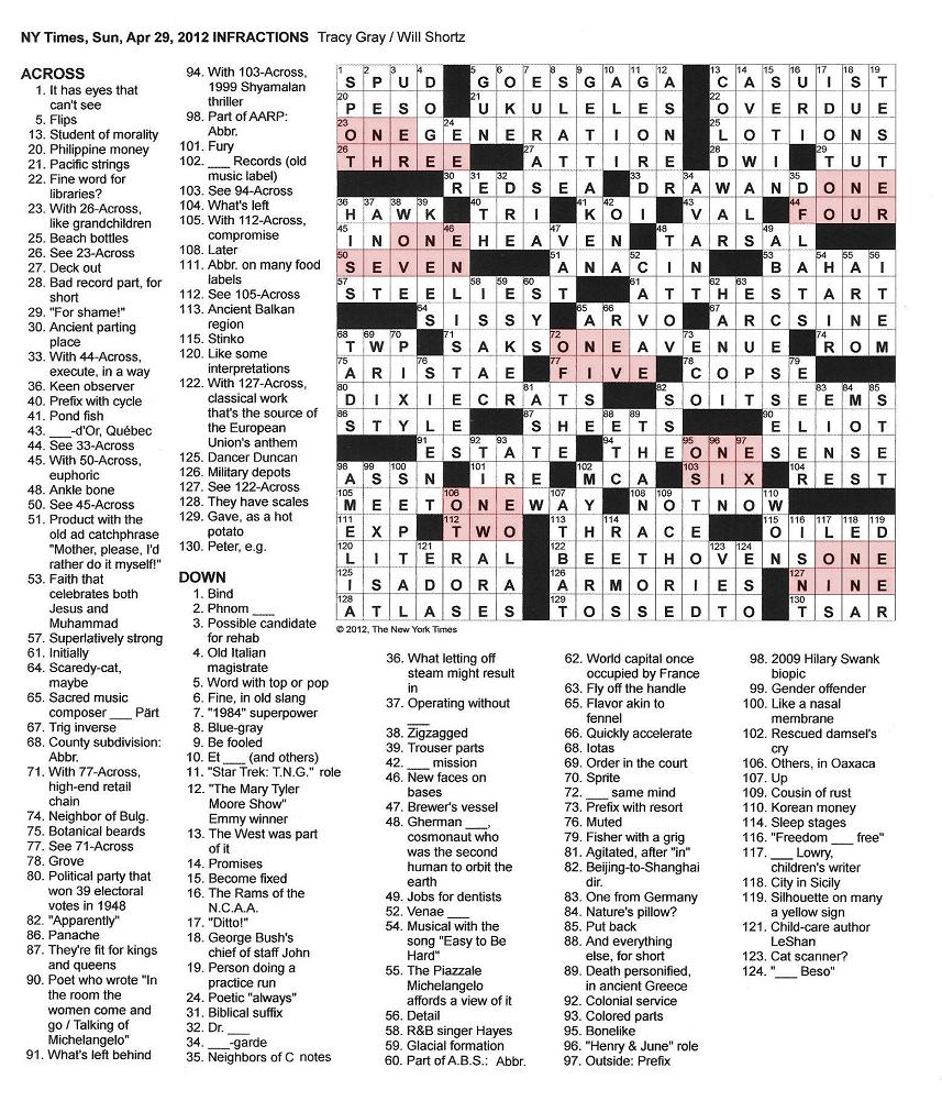 The New York Times Crossword In Gothic April 2012