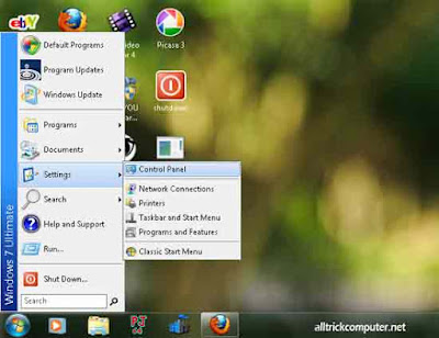 start menu windows 7 menjadi start menu windows xp