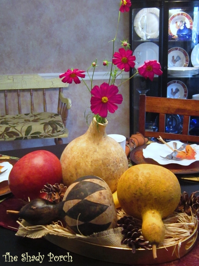 Painted Gourd Table Centerpiece #tablescape #centerpiece #gourds #dining #table #decor #fall #autumn