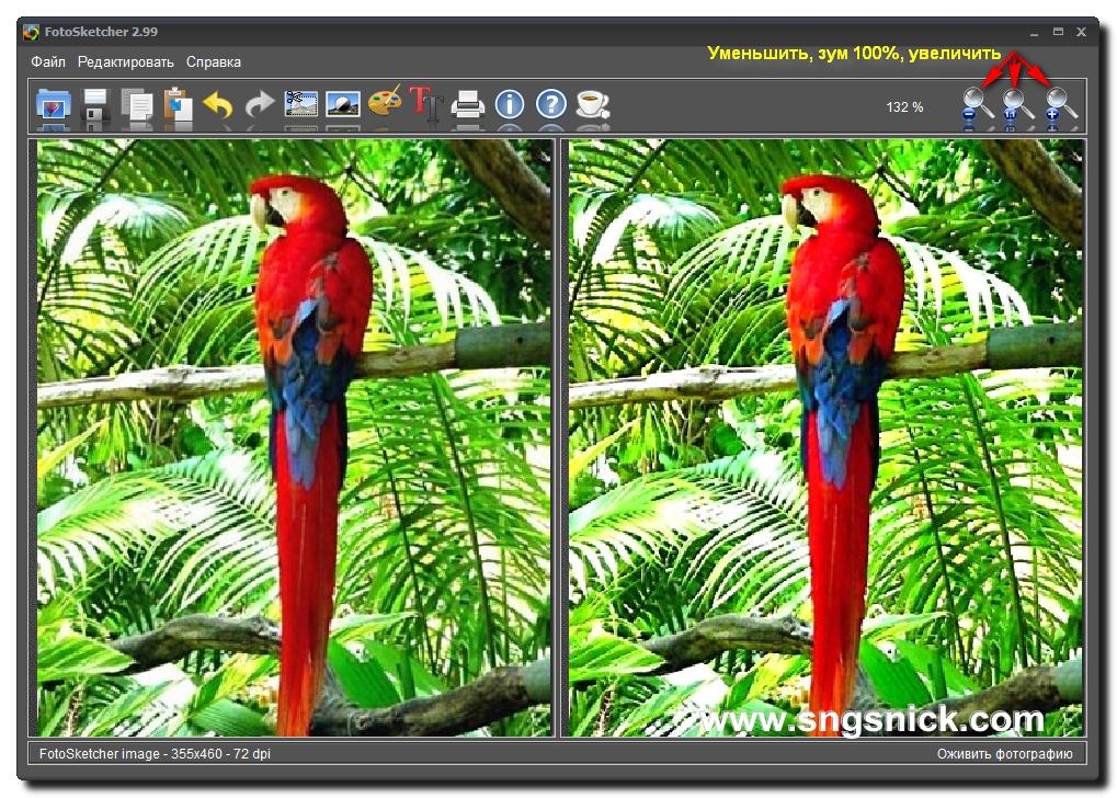 FotoSketcher 2.99. Зум изображения