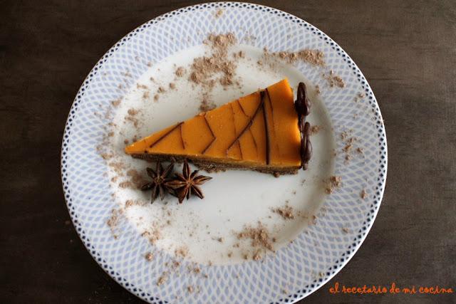 tarta de batata al aroma de anis con chocolate