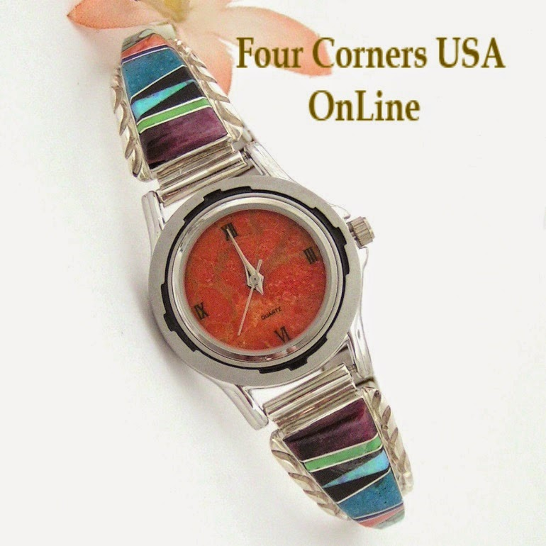 http://stores.fourcornersusaonline.com/womens-multi-color-inlay-sterling-watch-shown-with-apple-coral-face-navajo-arnold-yazzie-native-american-jewelry-naw-1425/