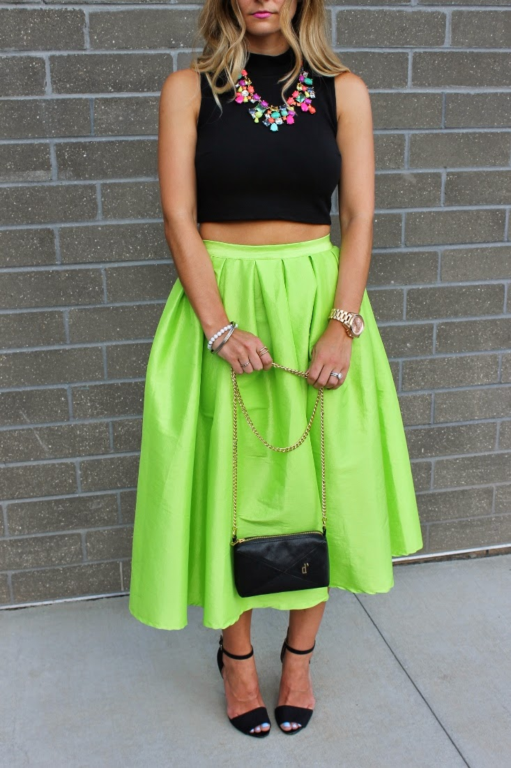 Bedazzles After Dark: Outfit Post: Crop Top   Neon Midi Skirt
