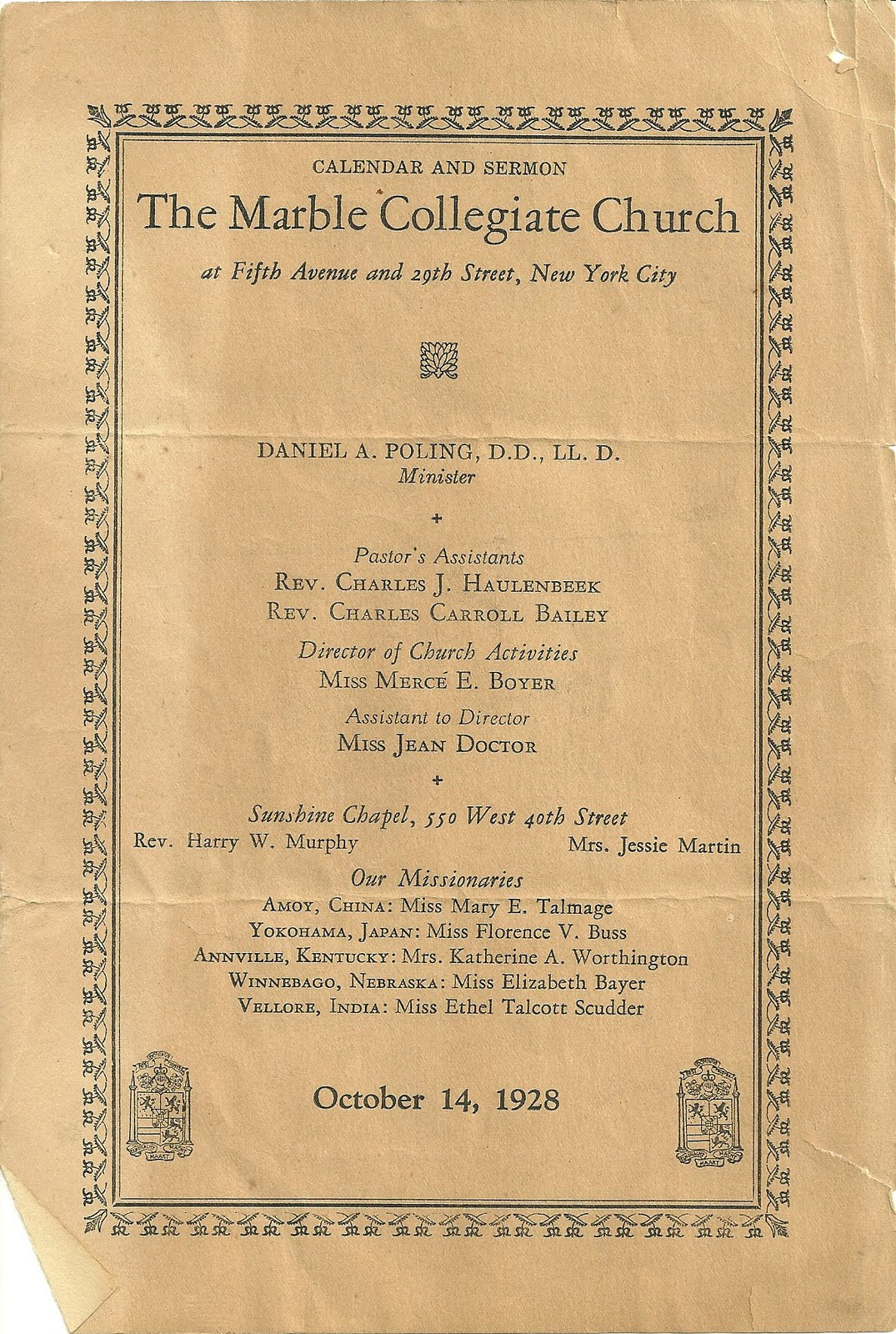 Heirlooms Reunited Oct 1928 Program Of The Marble Collegiate Church Raisa Font College Navy M 5th Ave 29th St New York City