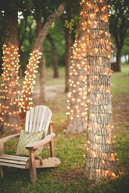 rustic outdoor wedding lighting