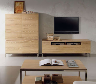Decoraci n de salones con madera clara - Muebles de madera natural ...