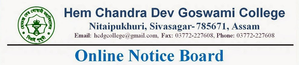 Online Notice Board (ONB) of Hem Chandra Dev Goswami (HCDG) College