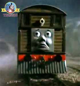 Thomas the train Toby's Discovery of a mine old castle ghost warrior steam tram driver and fireman