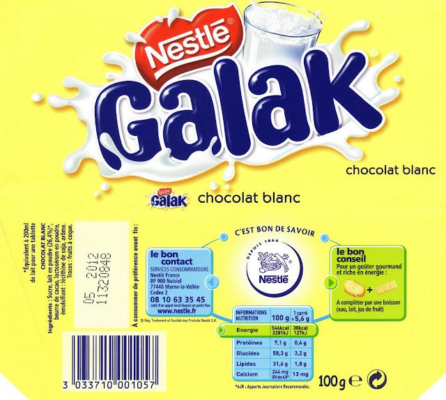 tablette de chocolat blanc dégustation nestlé galak