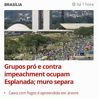 Um muro em Brasília divide grupos do Impeachment
