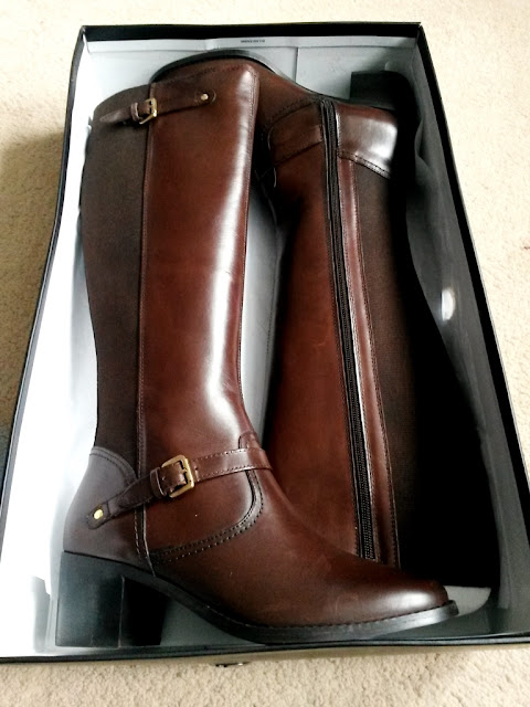 Dark brown leather ladies riding boots in box