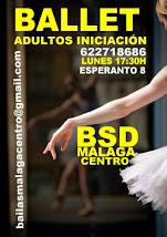 BALLET ADULTOS INICIACIÓN. NUEVO CURSO PARA PRINCIPIANTES LOS LUNES EN BSD MÁLAGA CENTRO.