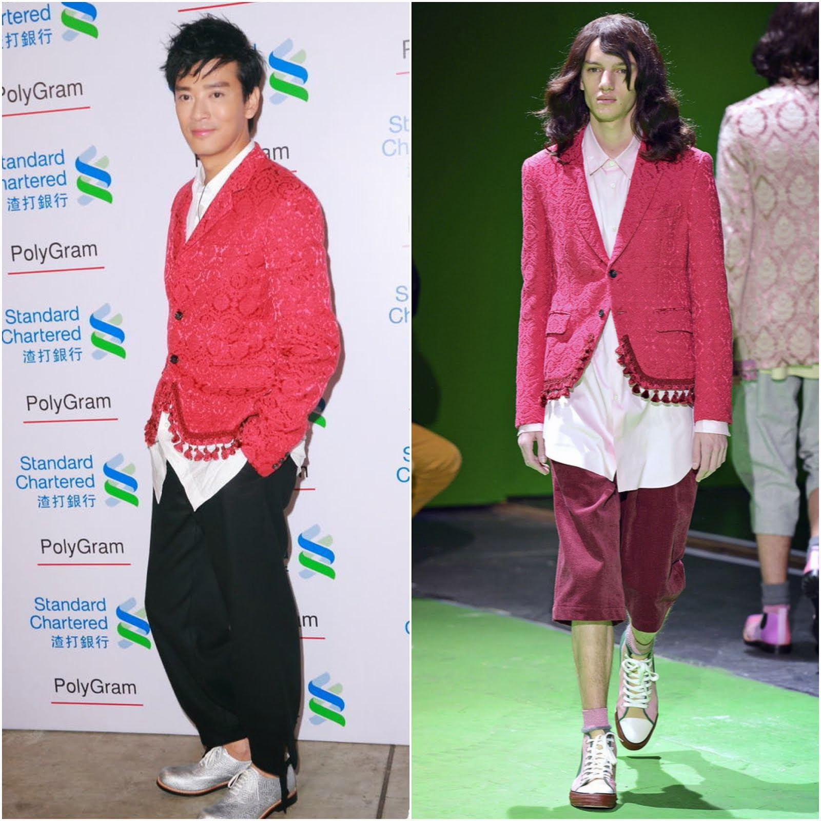 00O00 Menswear Blog: Daniel Chan [陈晓东] in Comme des Garçons Red floral jacquard tailored evening jacket with tasselled hemline Fall Winter 2013 - Polygram All Stars Concert August 2013 宝丽金歌手演唱会
