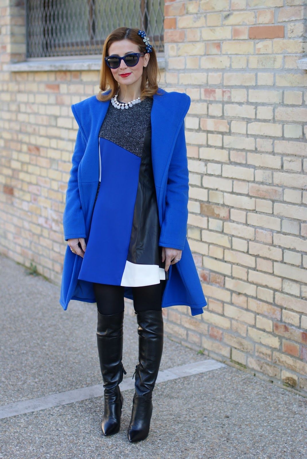 Wrap hooded coat and over the knee boots on Fashion and Cookies fashion blog, fashion blogger style