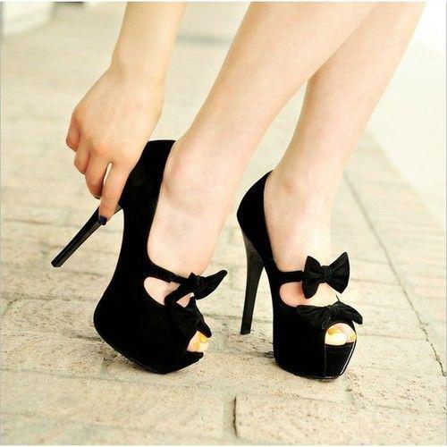 Shoes high heels black 2018