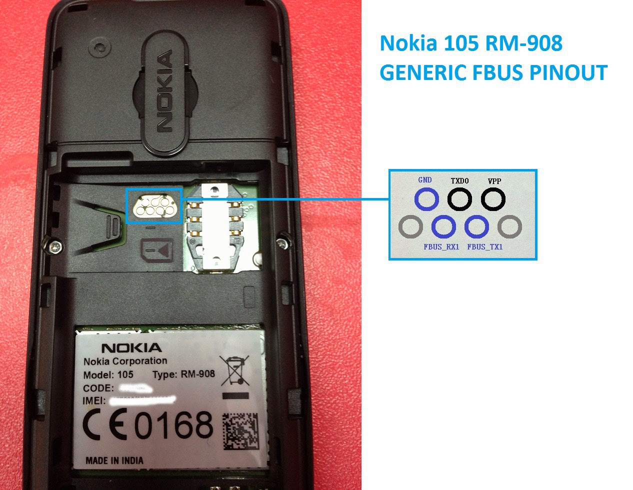 How to flash nokia 108 rm 944 best toool 1000000000000 working - Pinouts