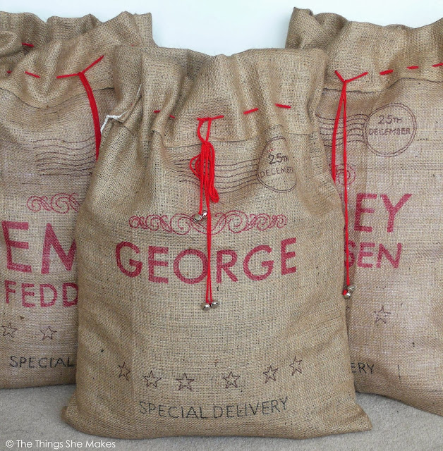 hessian sacks made to looks like post bags using sharpie, with personalised names