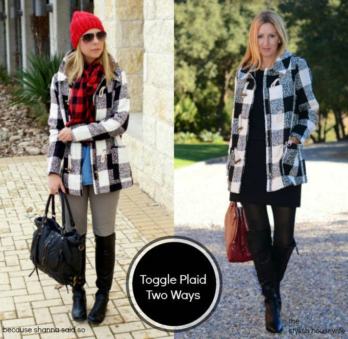 two ways to wear a plaid buffalo check plaid toggle coat