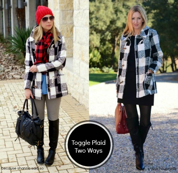 two ways to wear a plaid buffalo check plaid toggle coat