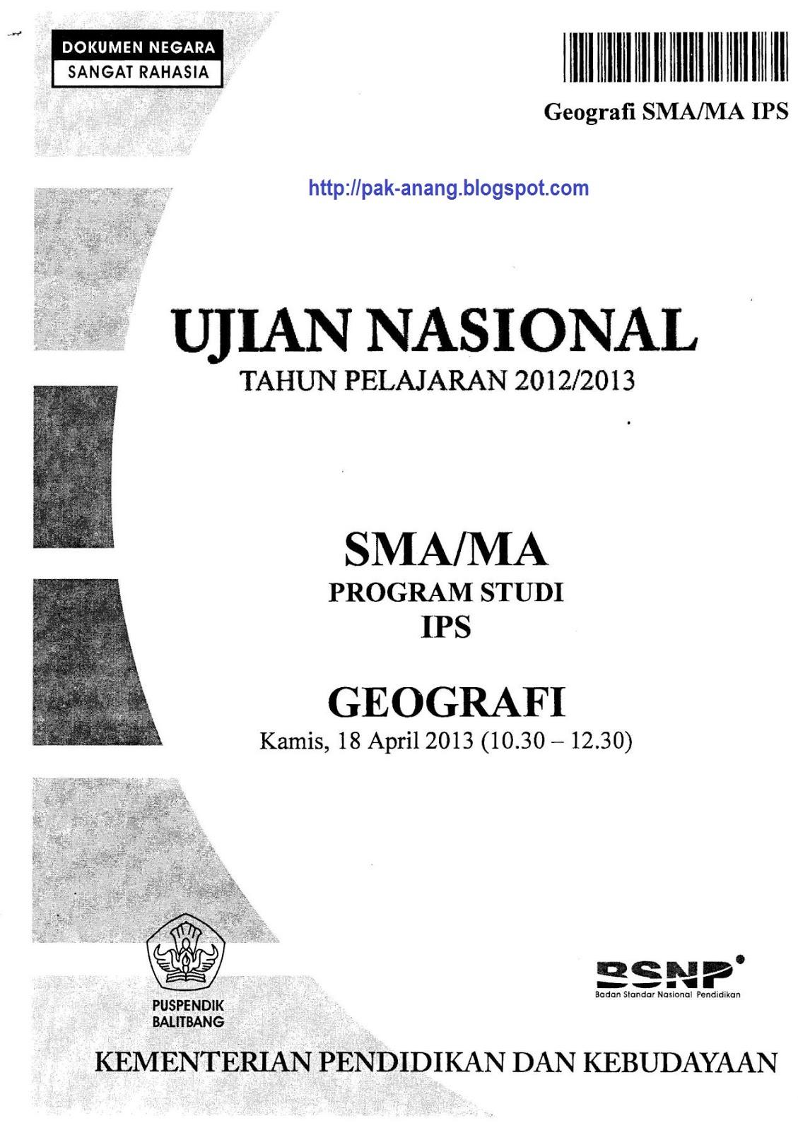 Naskah Soal UN Geografi SMA 2013 Paket 1 .
