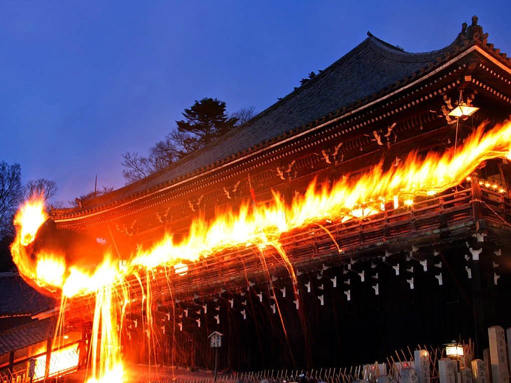 Omizutori, a Water-Drawing Ritual, at Nigatsu-do Hall in Todaiji Temple, Nara