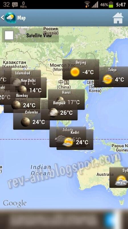 Cuaca kota besar dunia tampak di peta Weather & Clock Widget - aplikasi android untuk mengetahui cuaca dan jam dunia plus widget