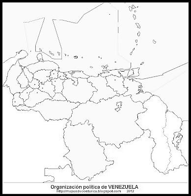 Mapa Político de VENEZUELA, (wikipedia), blanco y negro