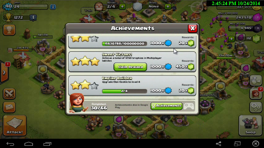 claim banus 450 gems coc
