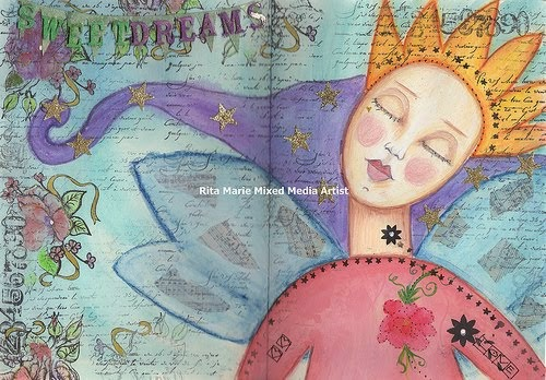 "Art Inspirational Journal Page ""Sweet Dreams"""