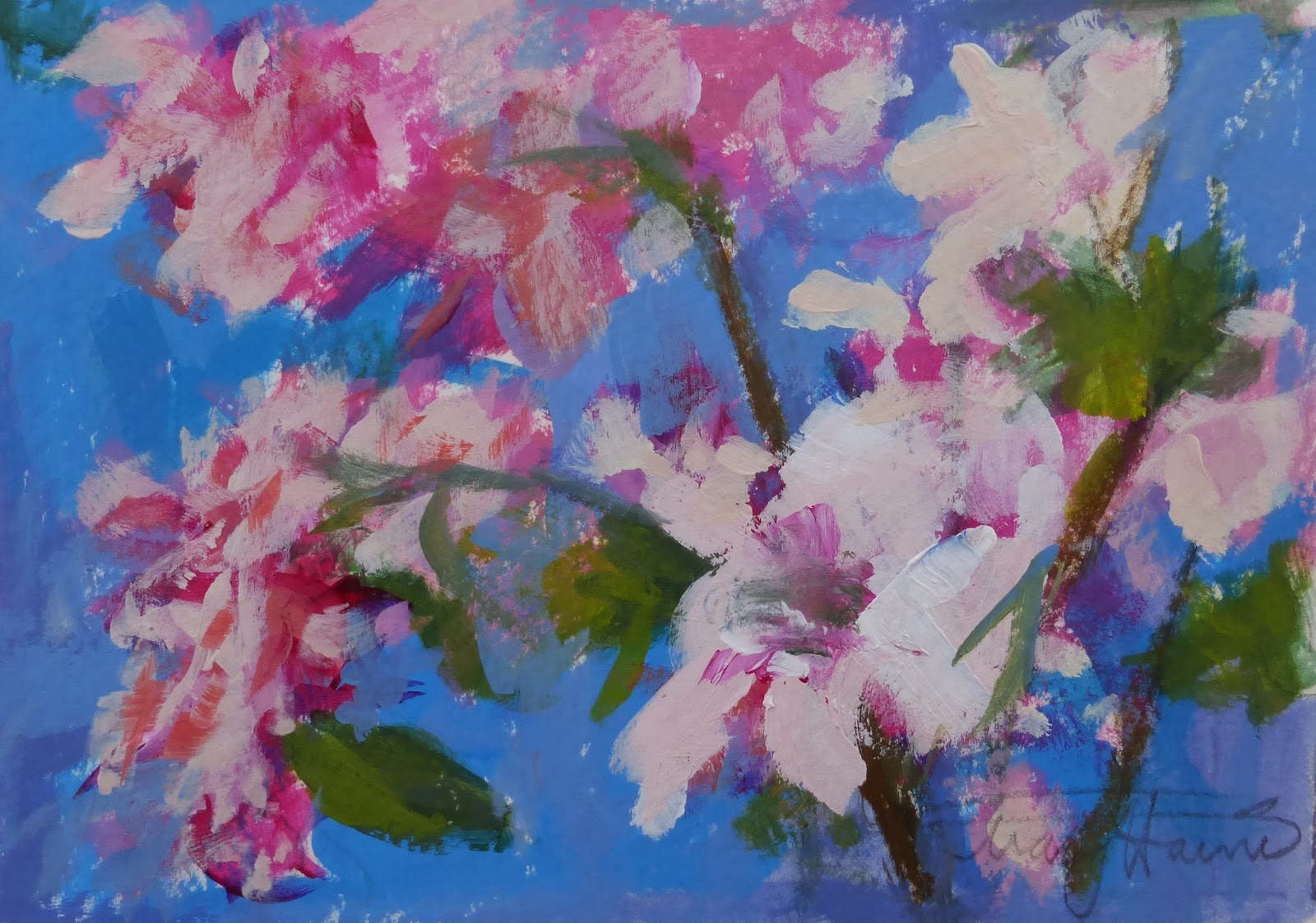 Fine watercolor art for sale - Blue And Pink Floral Is A 5x7 Acrylic And Pencil Abstract Sketch On 140 Lb Watercolor Paper Acrylic Paints Like Pastels Allow For The Brilliant Use Of