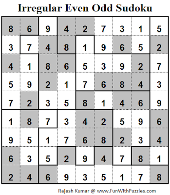 Irregular Even Odd Sudoku (Fun With Sudoku #81) Solution
