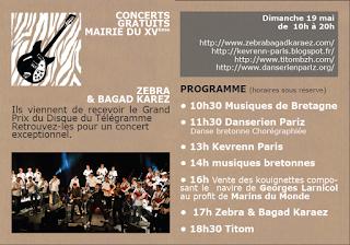 Kevrenn Paris - Fête de la bretagne 2013 - Paris XVéme - Programme