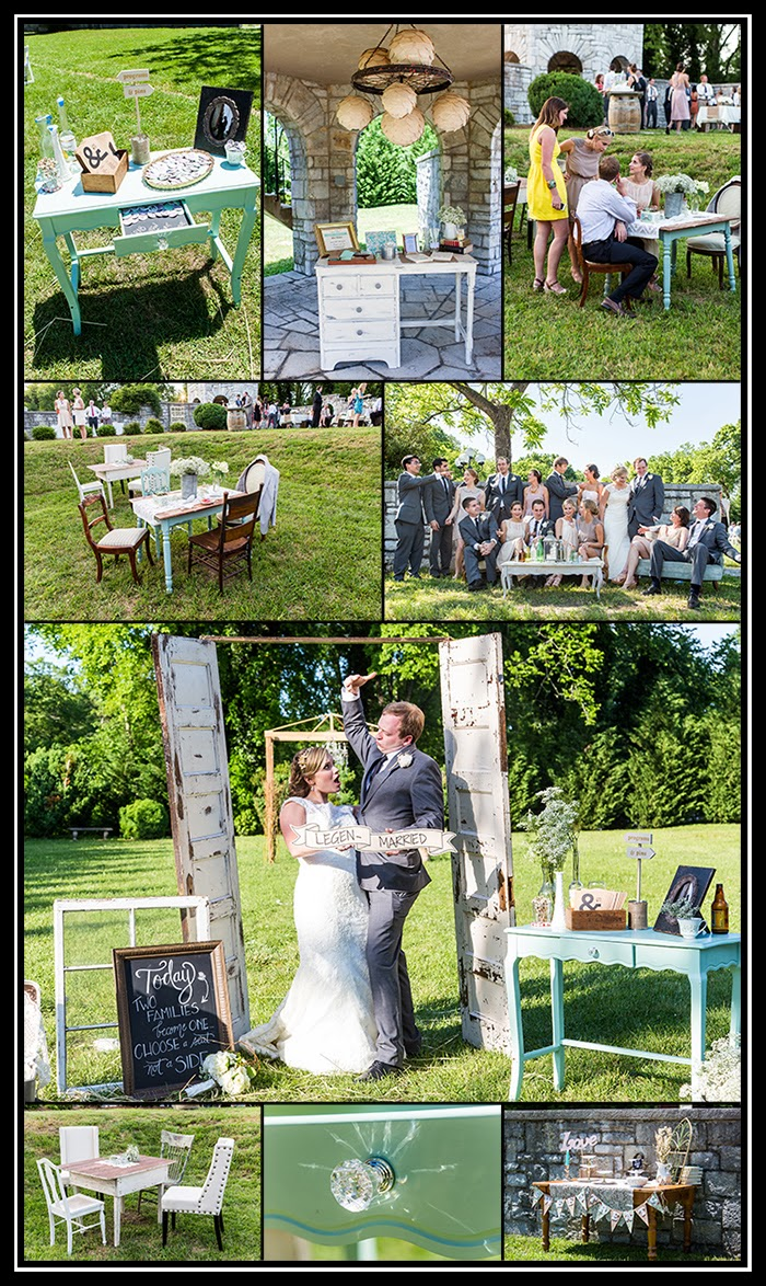 photographs of wedding party, casual image of wedding party hanging out on vintage furniture